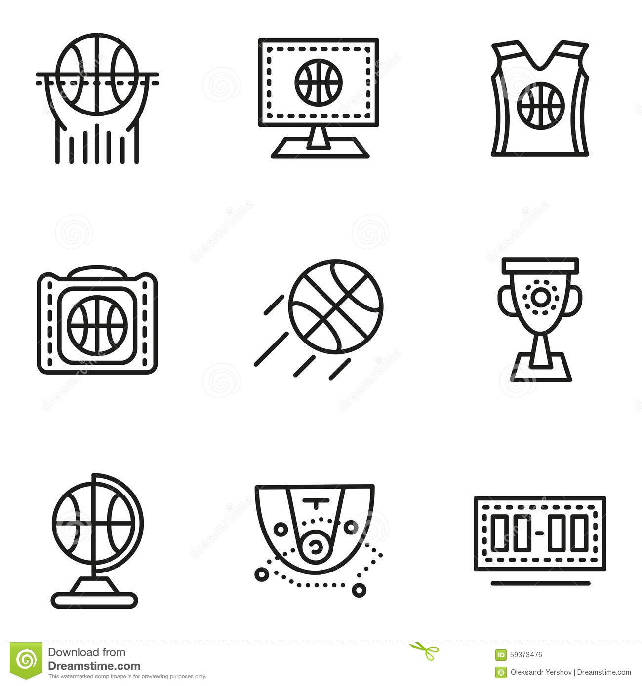 Basketball Simple Line Icons Stock Illustration