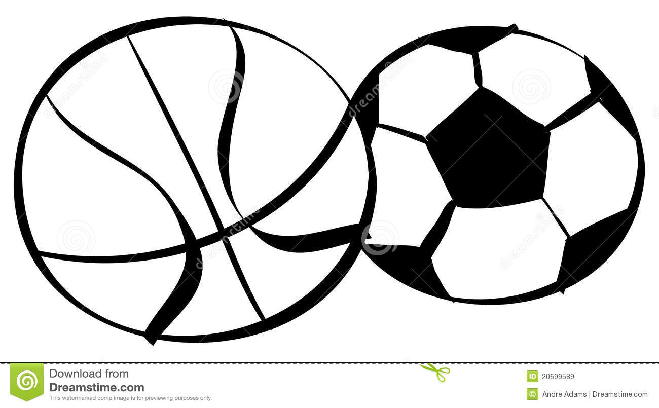 Basketball Soccer Outlines Stock Vector Image Of Drawing