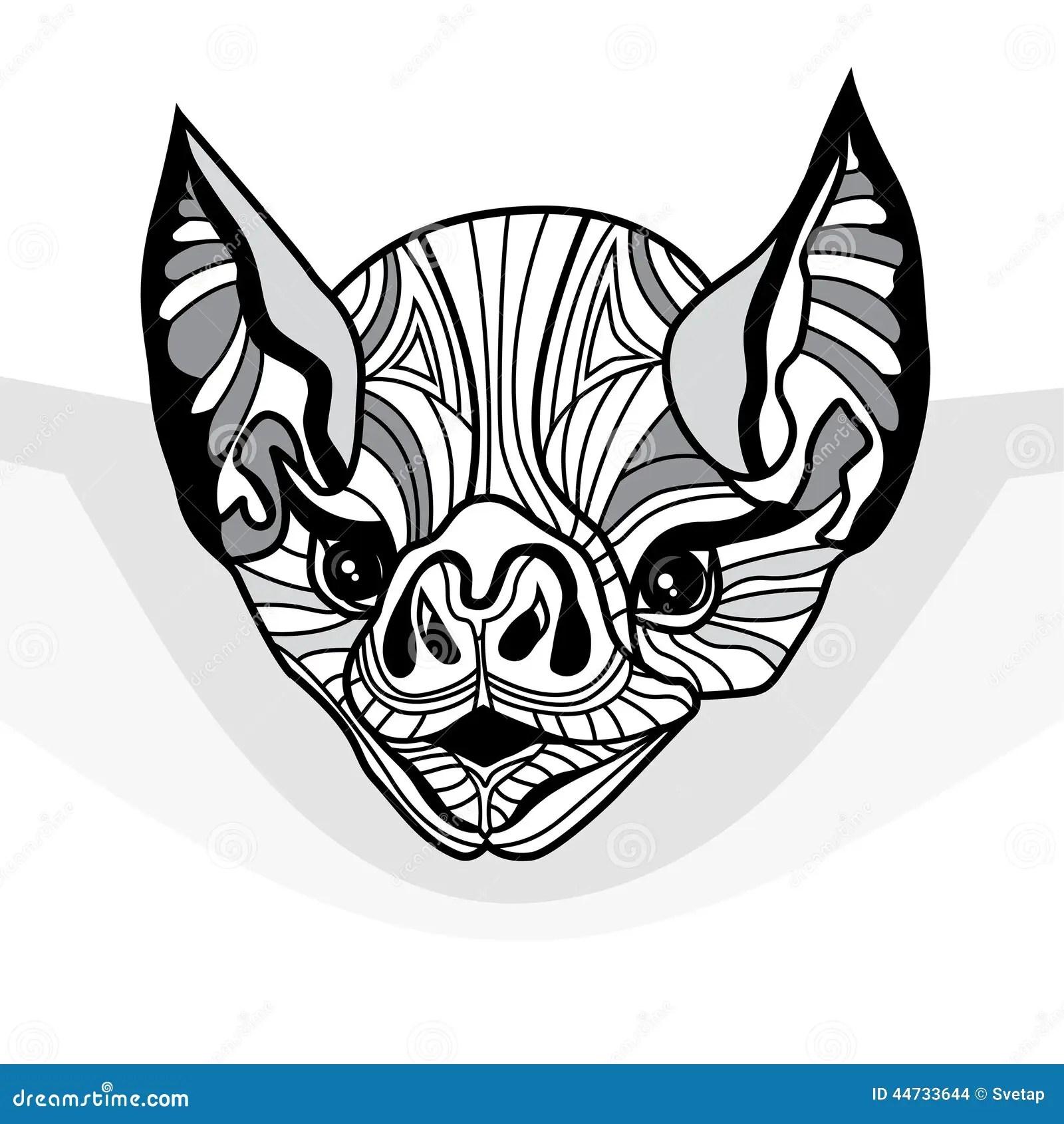 Bat Head Vector Animal Illustration For T Shirt Stock