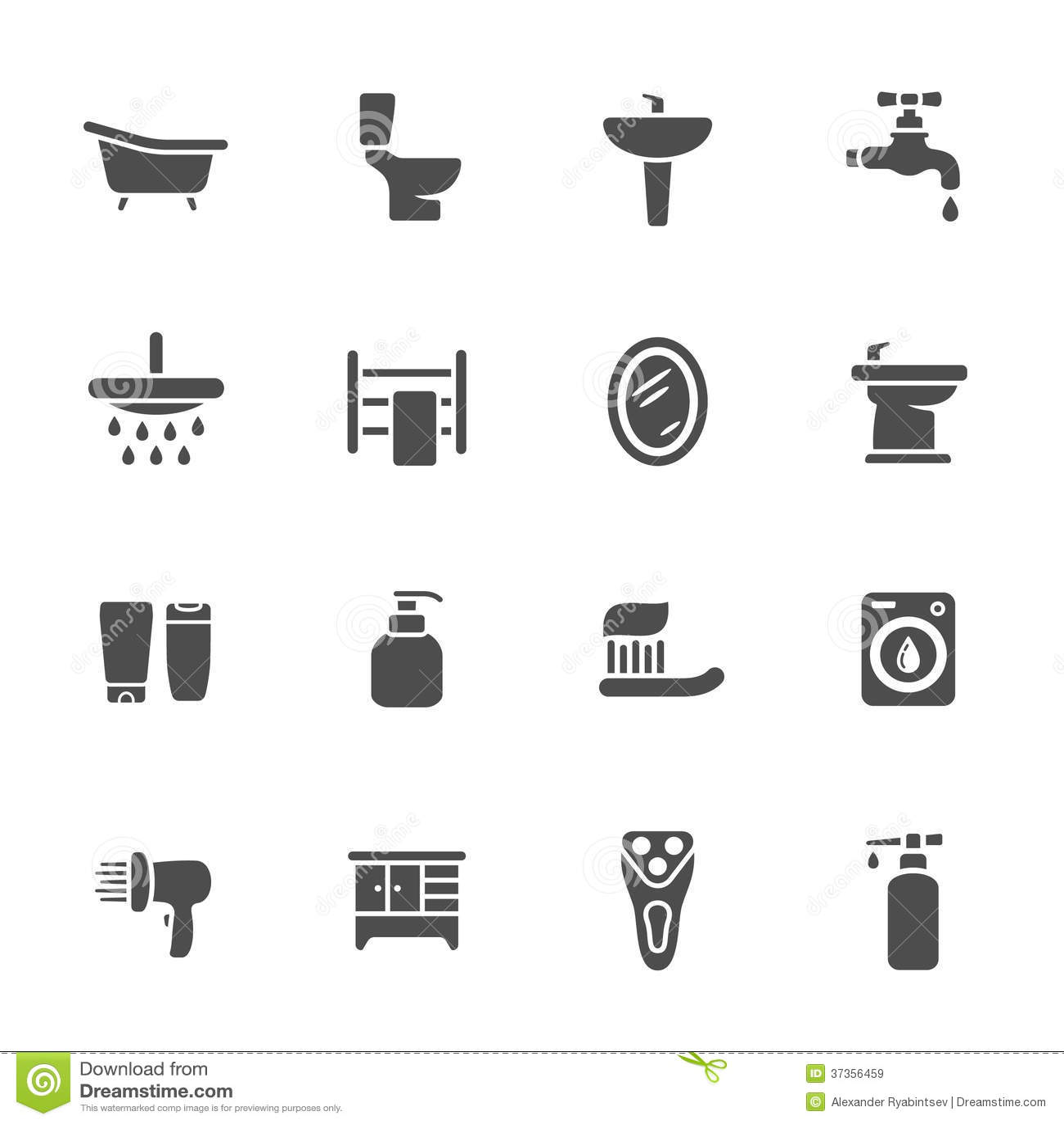 Bathroom Icon Set Stock Illustration Illustration Of