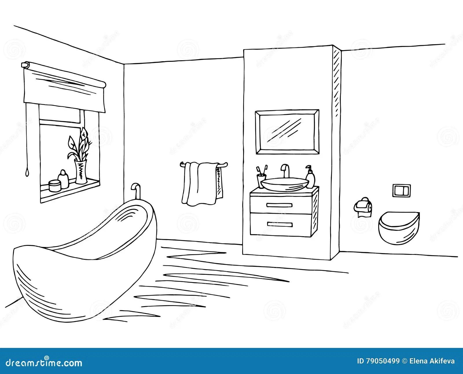 Bathroom Interior Black White Graphic Art Sketch Illustration Stock Vector