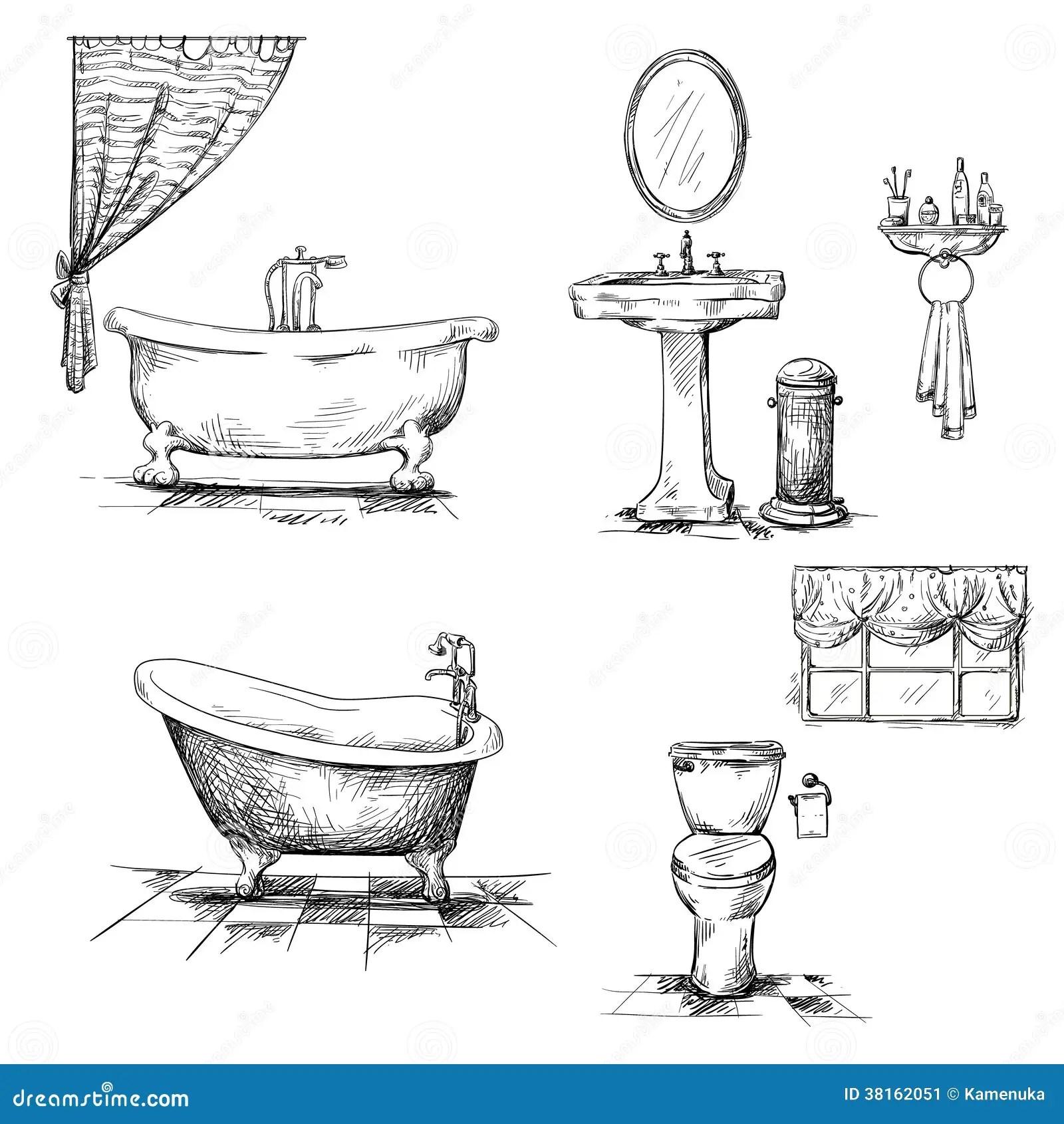 Bathroom Interior Elements Hand Drawn Bathtub T Stock
