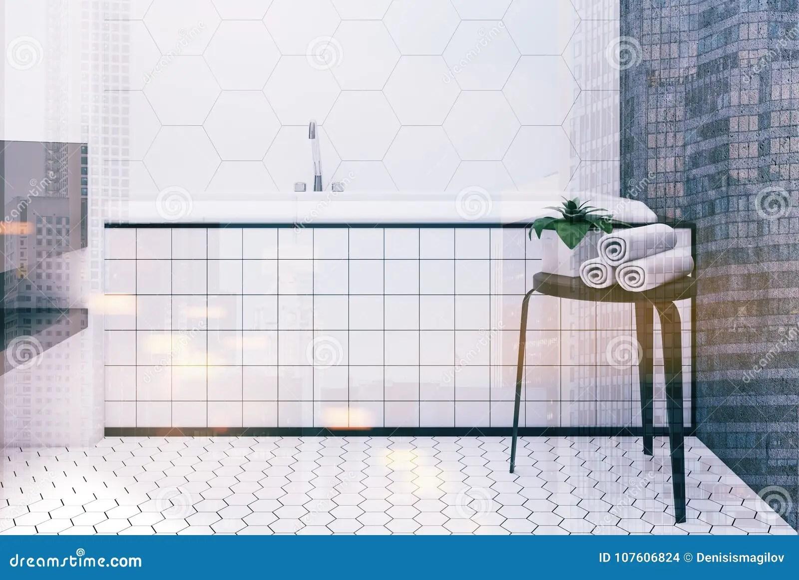 https www dreamstime com bathroom interior white hexagon tile concrete walls large angular tub tiled floor d rendering mock up toned image image107606824