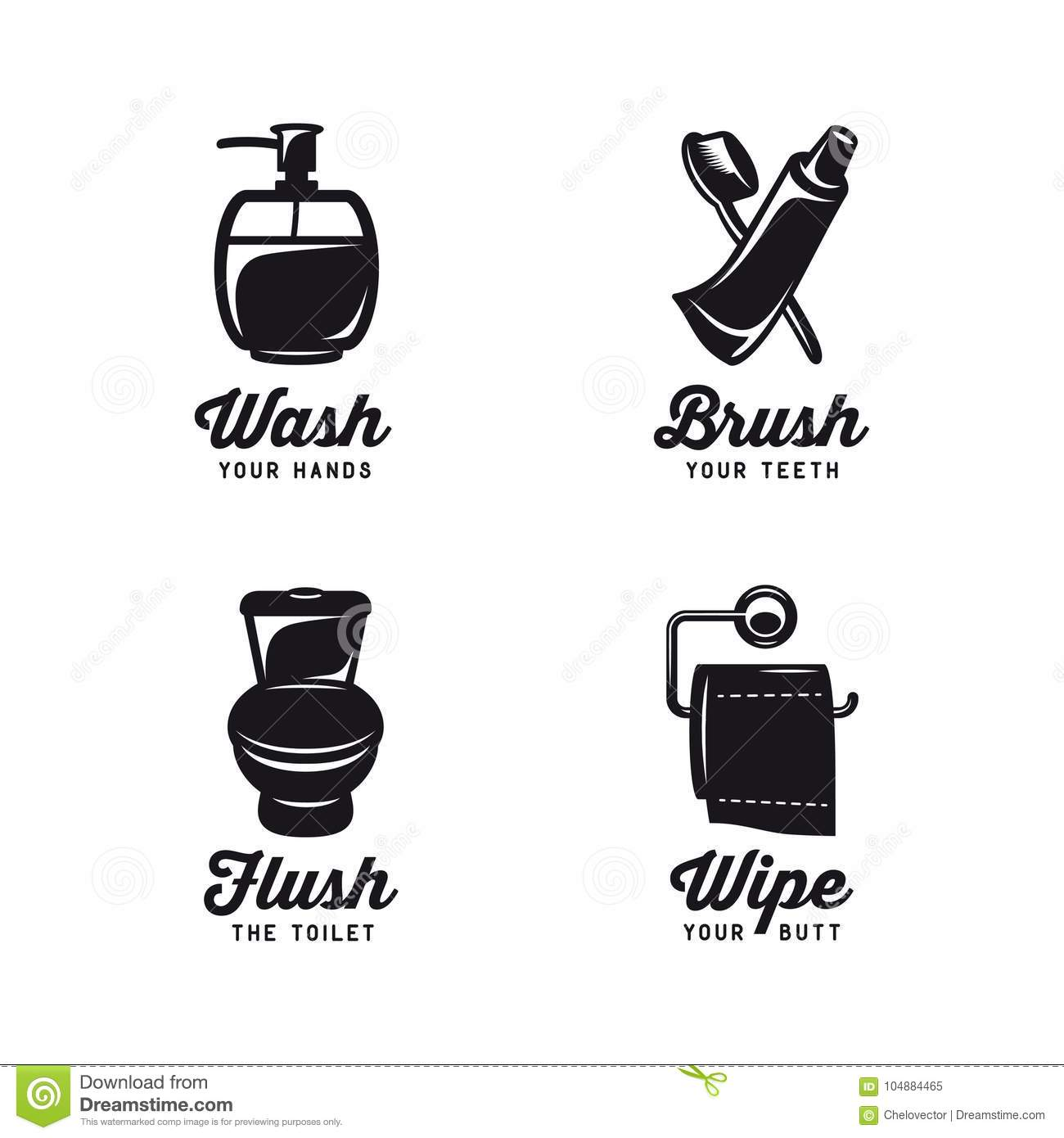 Bathroom Related Vintage Posters With Quotes Vector