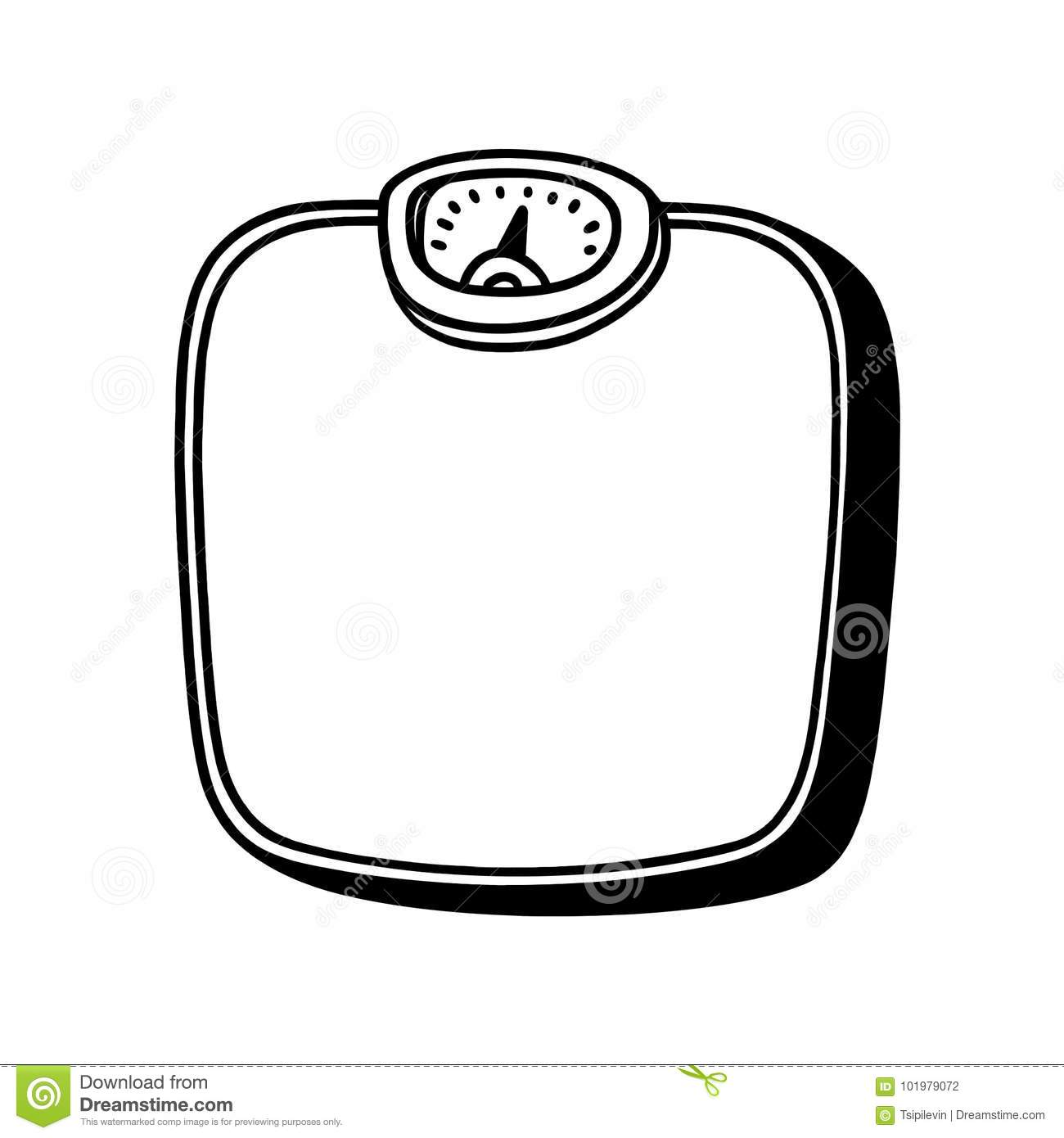 Bathroom Scale Black And White Illustration Stock
