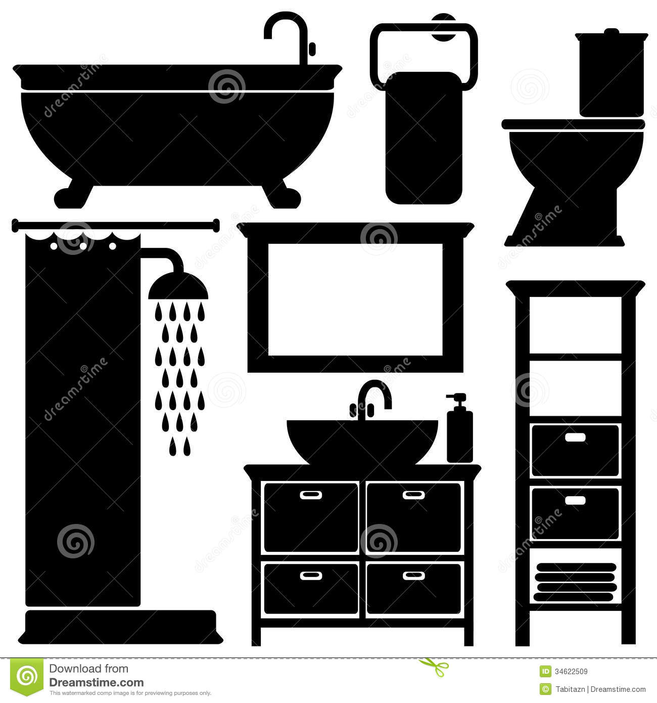 Bathroom Toilet Black Icons Set Silhouettes On Wh Stock