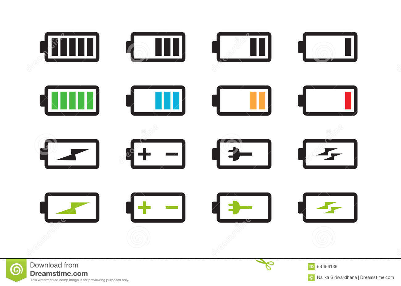 Battery Energy Indicator Icons Stock Vector