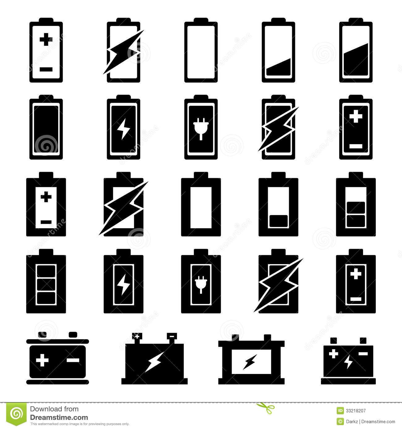 Battery Icon Set Stock Illustration Illustration Of Metal