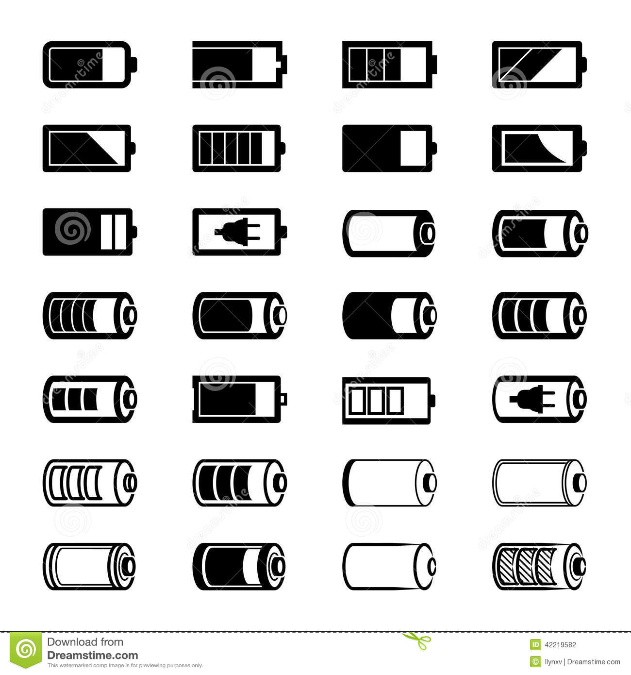 Battery Icons Stock Vector Illustration Of Silhouette
