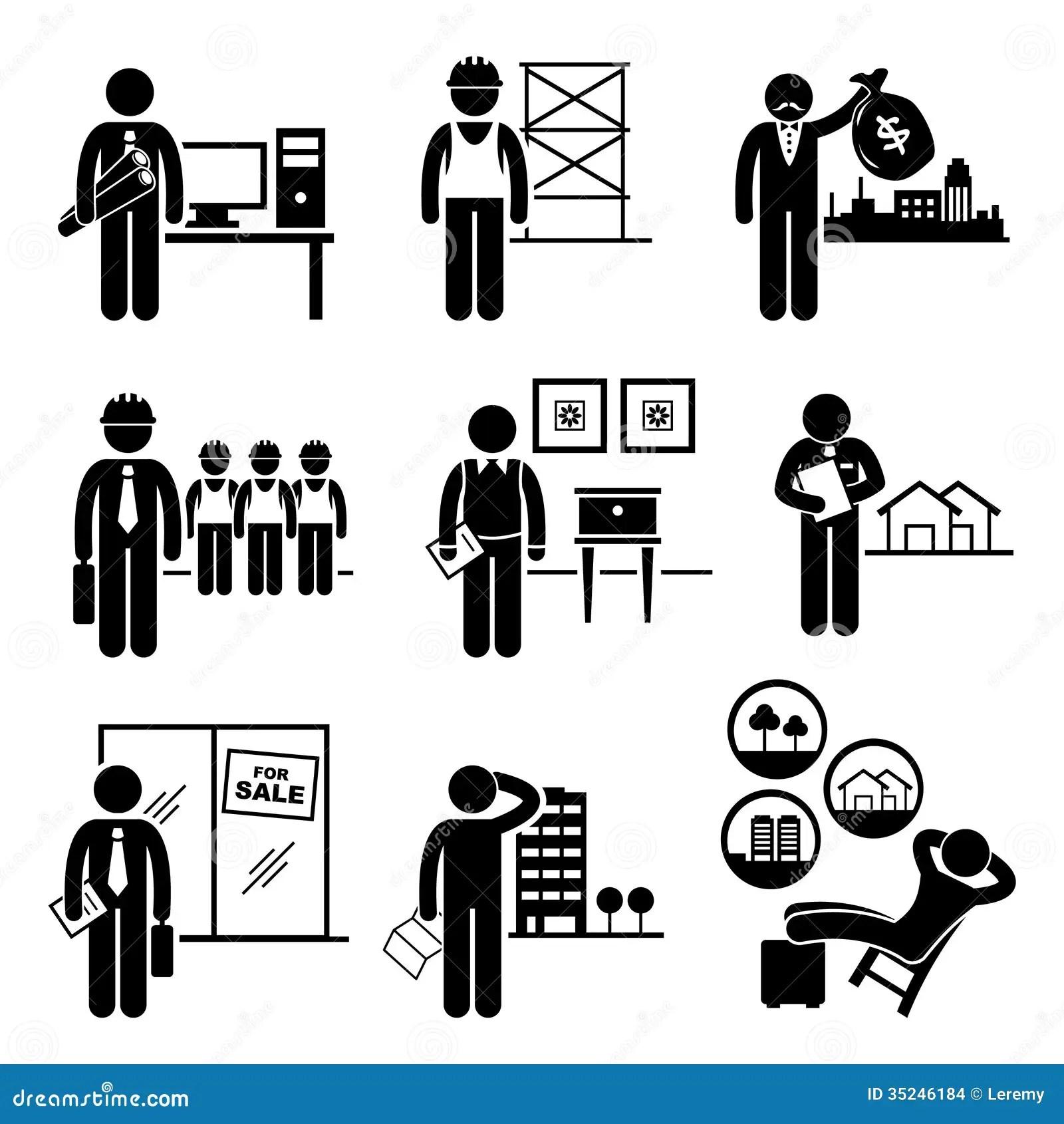 Bau Immobilien Job Besetzungs Karrieren Vektor Abbildung