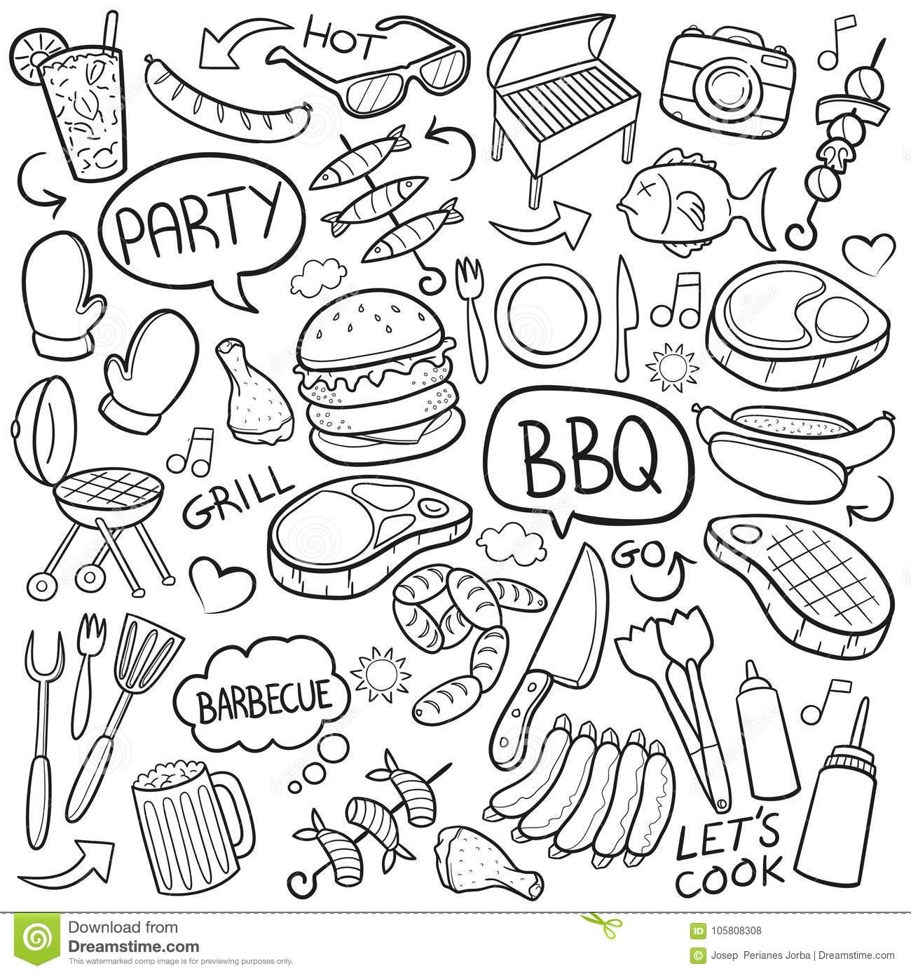 Bbq Barbecue Traditional Doodle Icons Sketch Hand Made