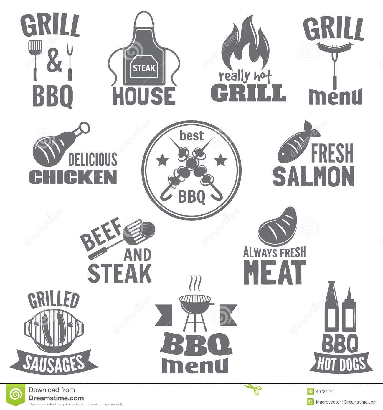 Bbq Grill Label Stock Vector Illustration Of House
