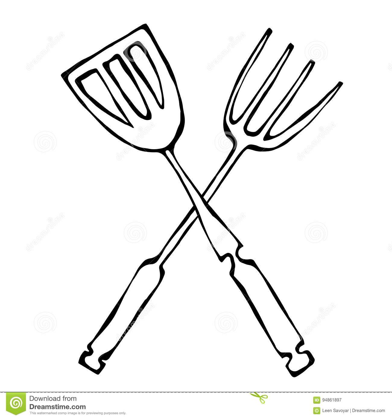 Spatula And Barbeque Fork Icon Cartoon Style Vector