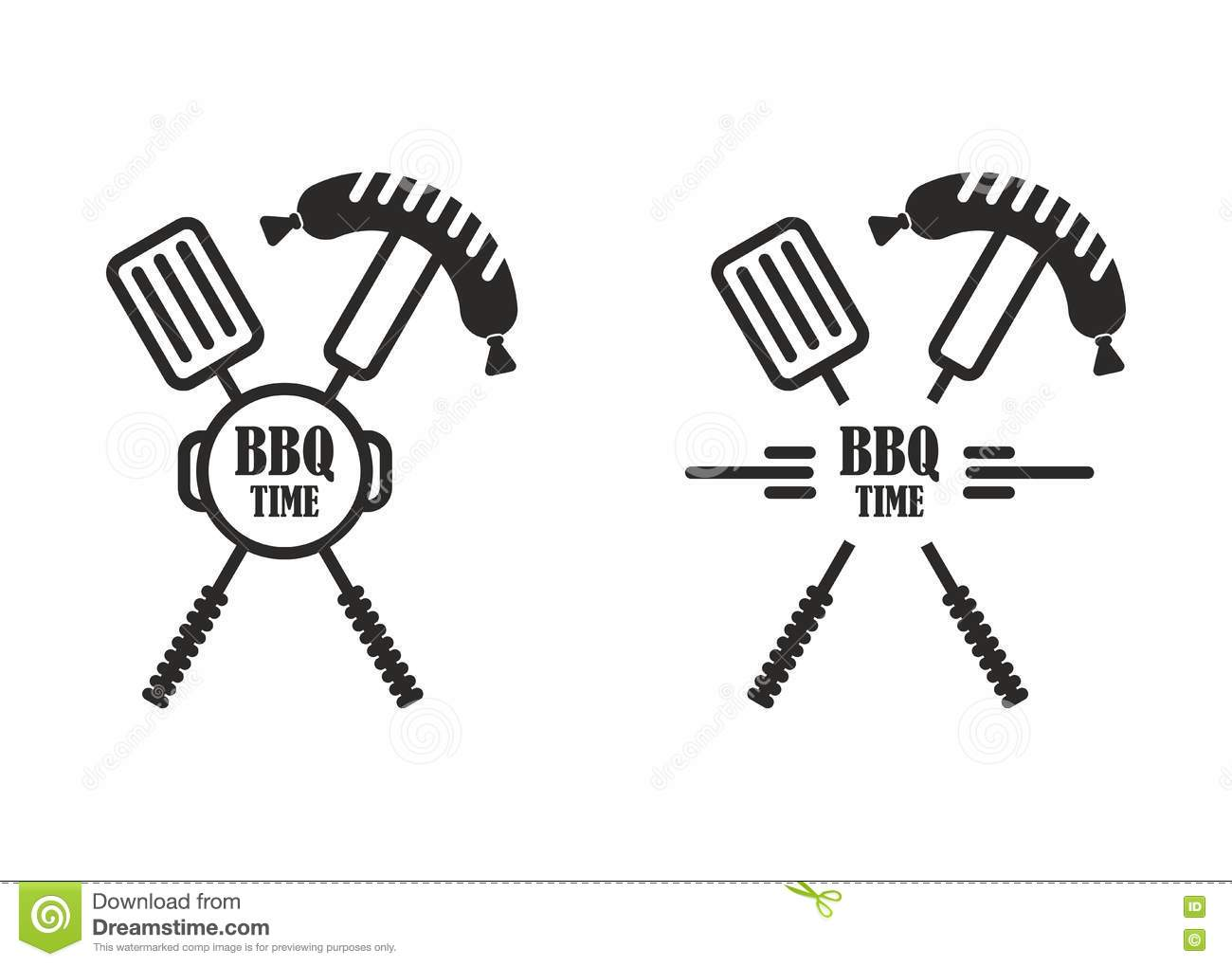 Bbq Time Label Spatula Fork Stock Vector