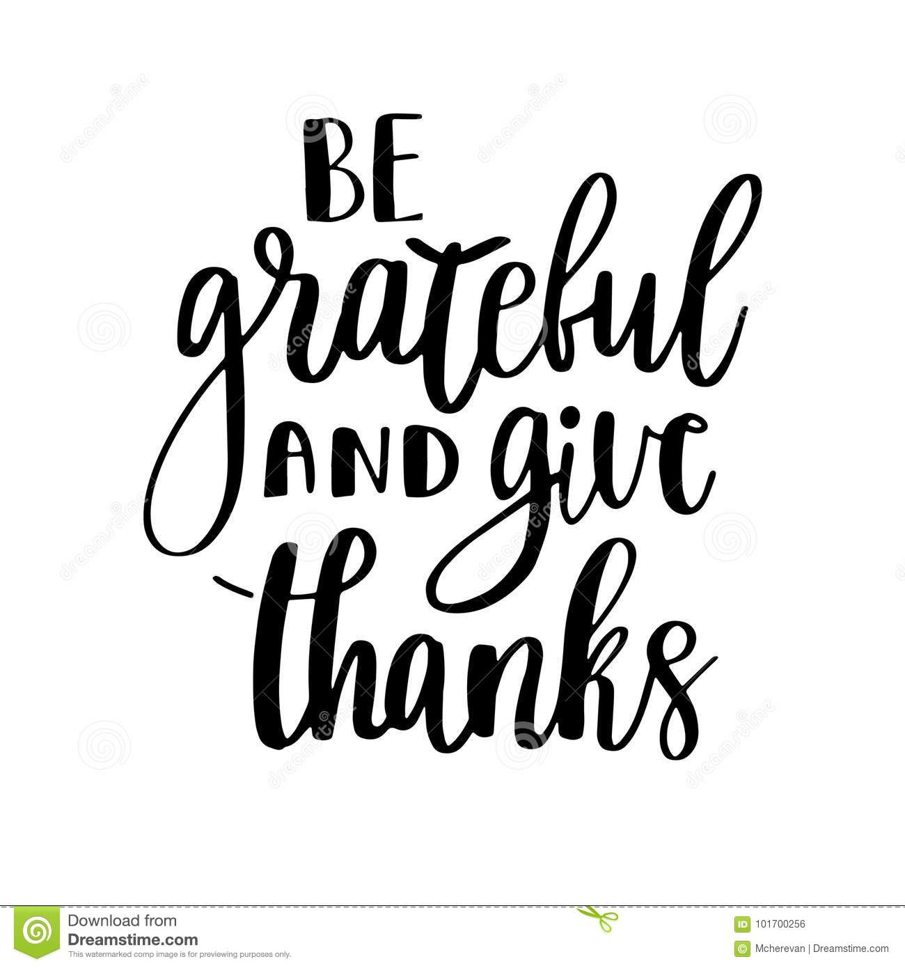 Be Grateful And Give Thanks Stock Illustration