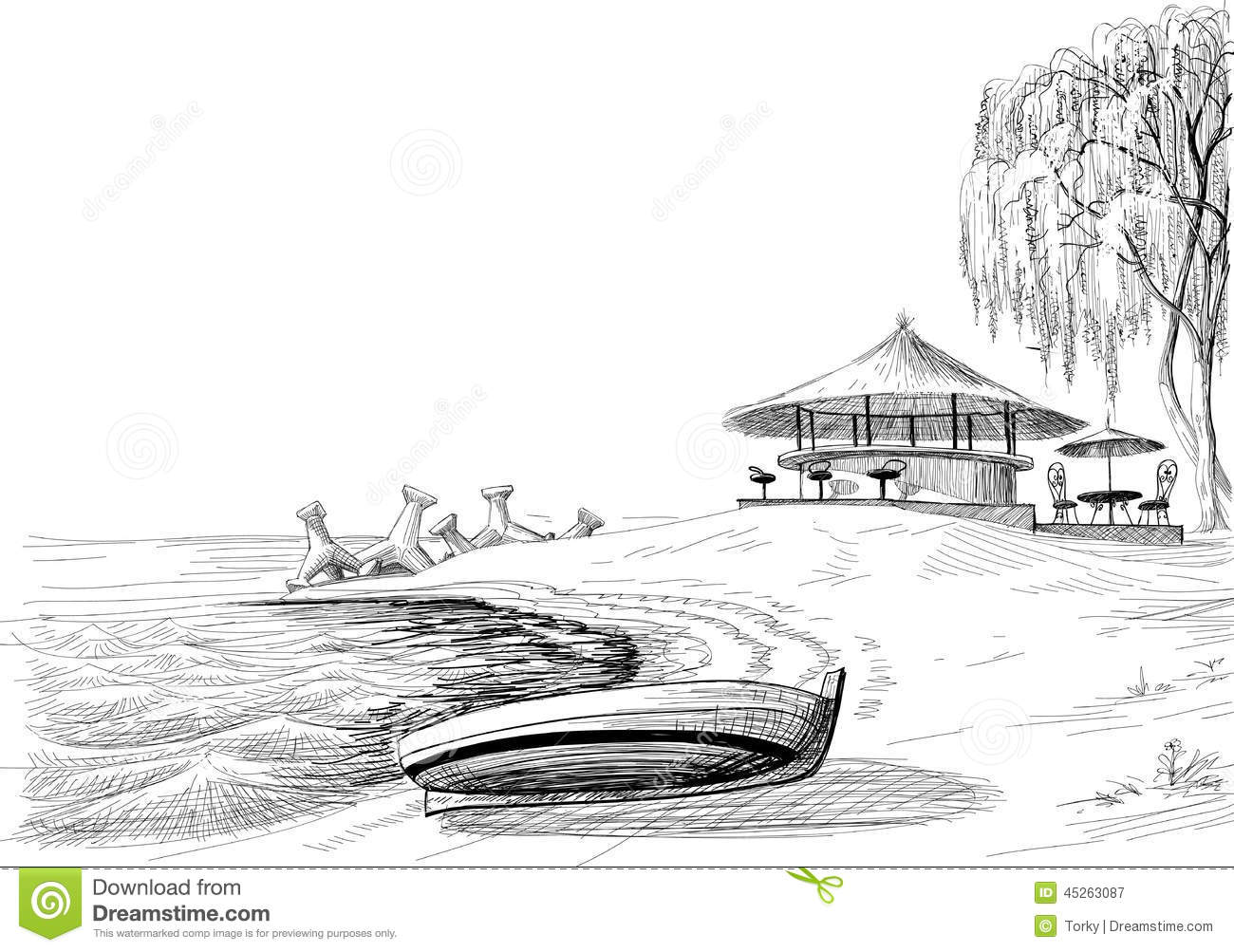 Beach Bar Sketch Stock Vector Illustration Of Place