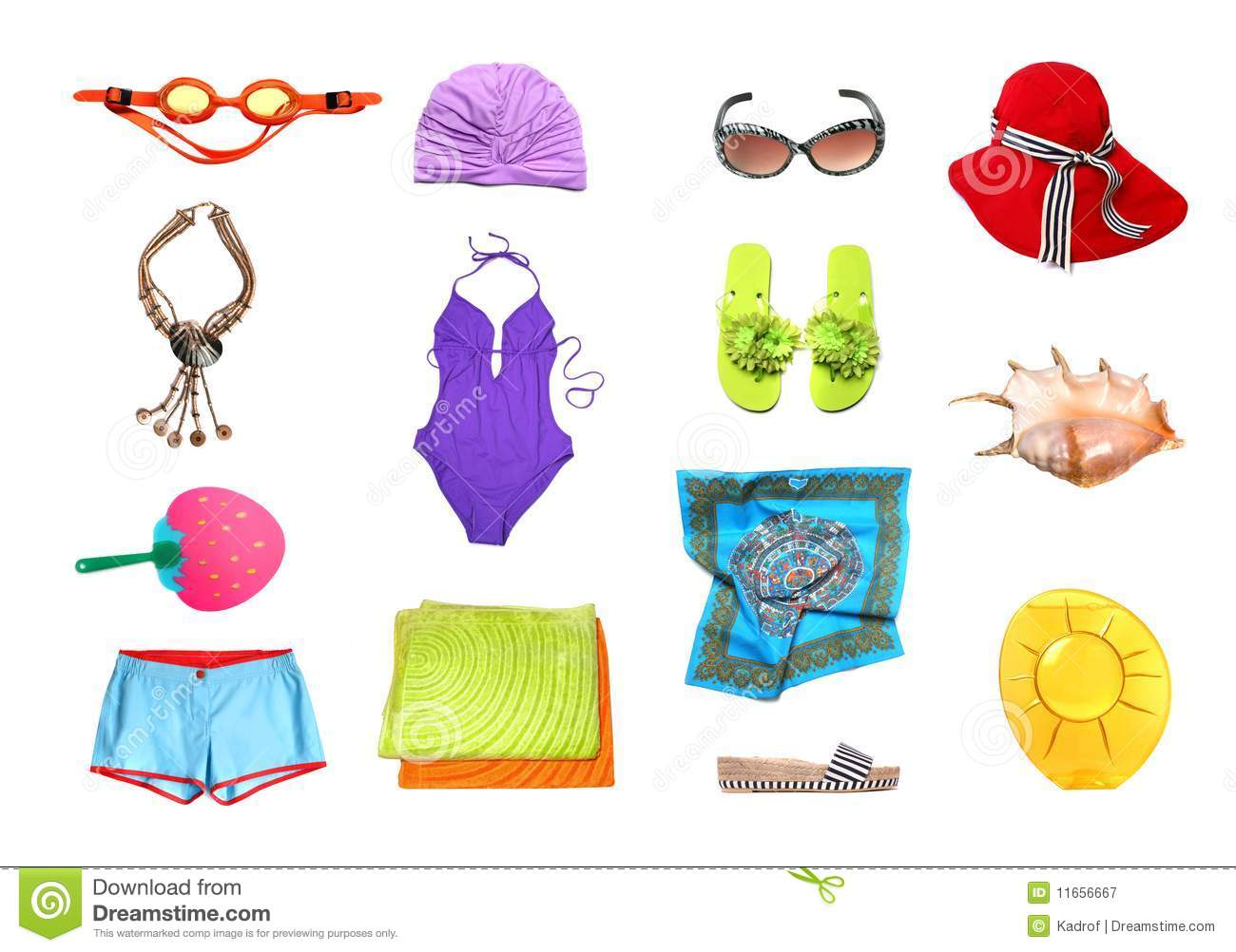 Beach Clothes And Accessories Set Stock Image