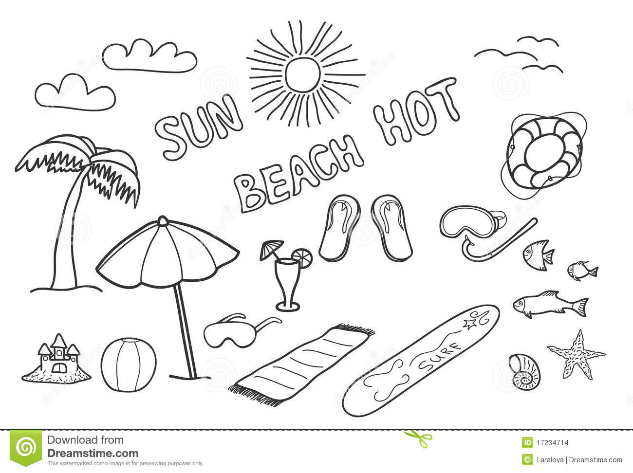 Beach Doodles Stock Images