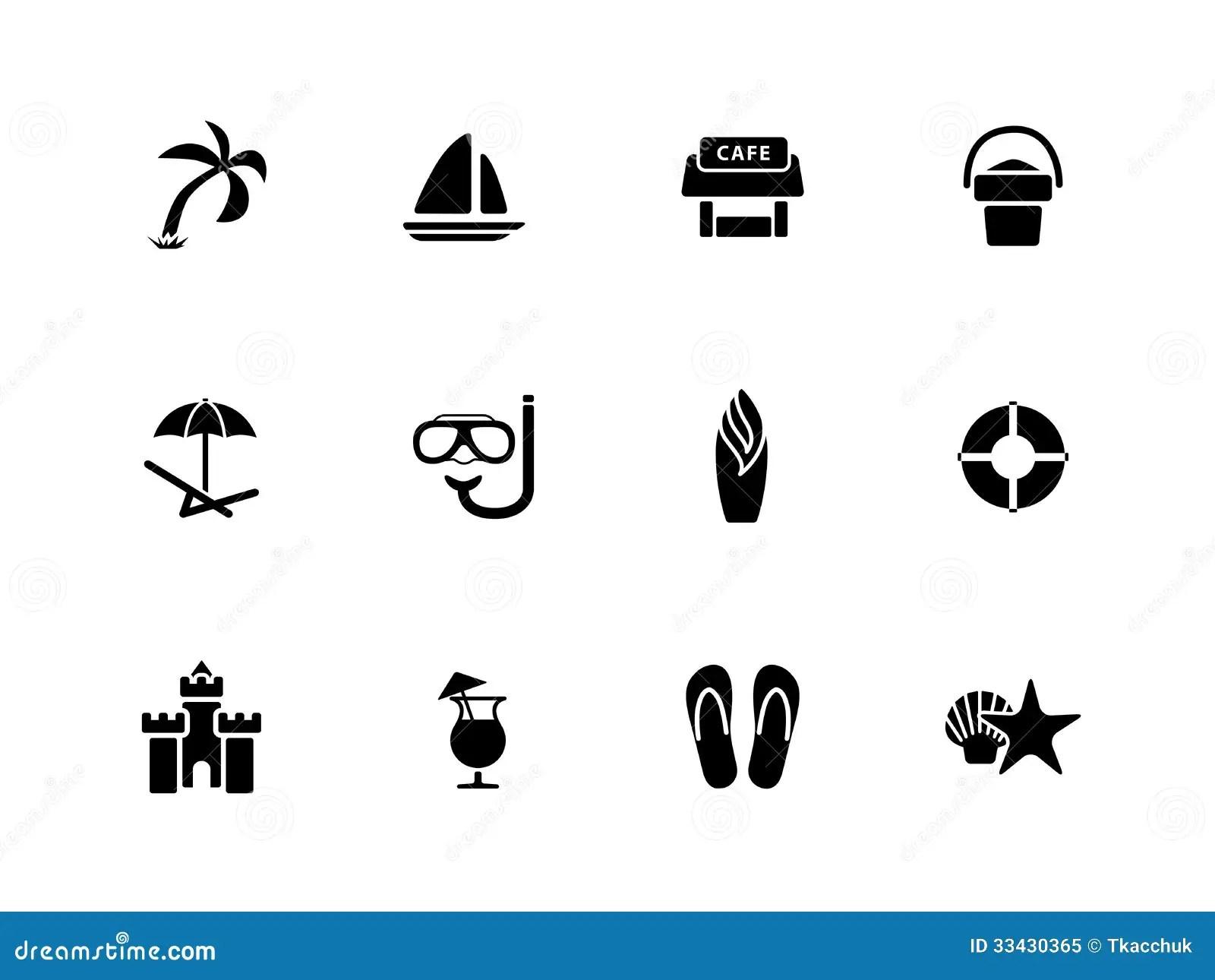 Beach Icons On White Background Royalty Free Stock Photo