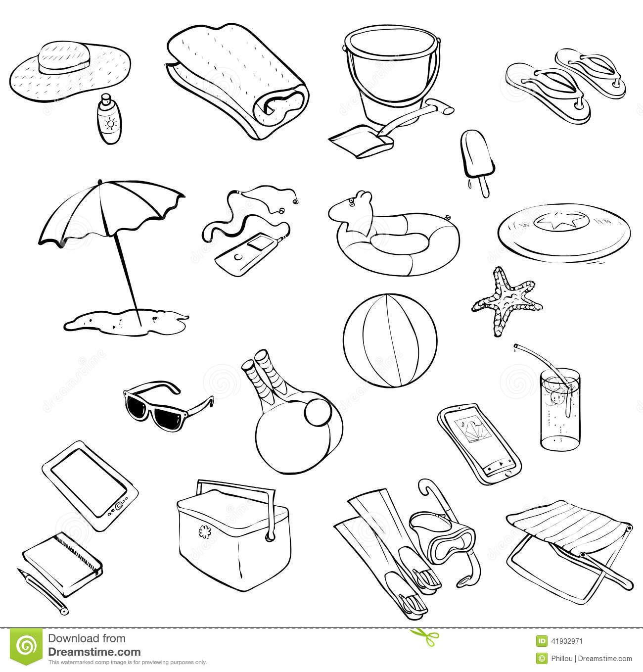 Beach Items Stock Vector Image Of Ball Ipod Collections