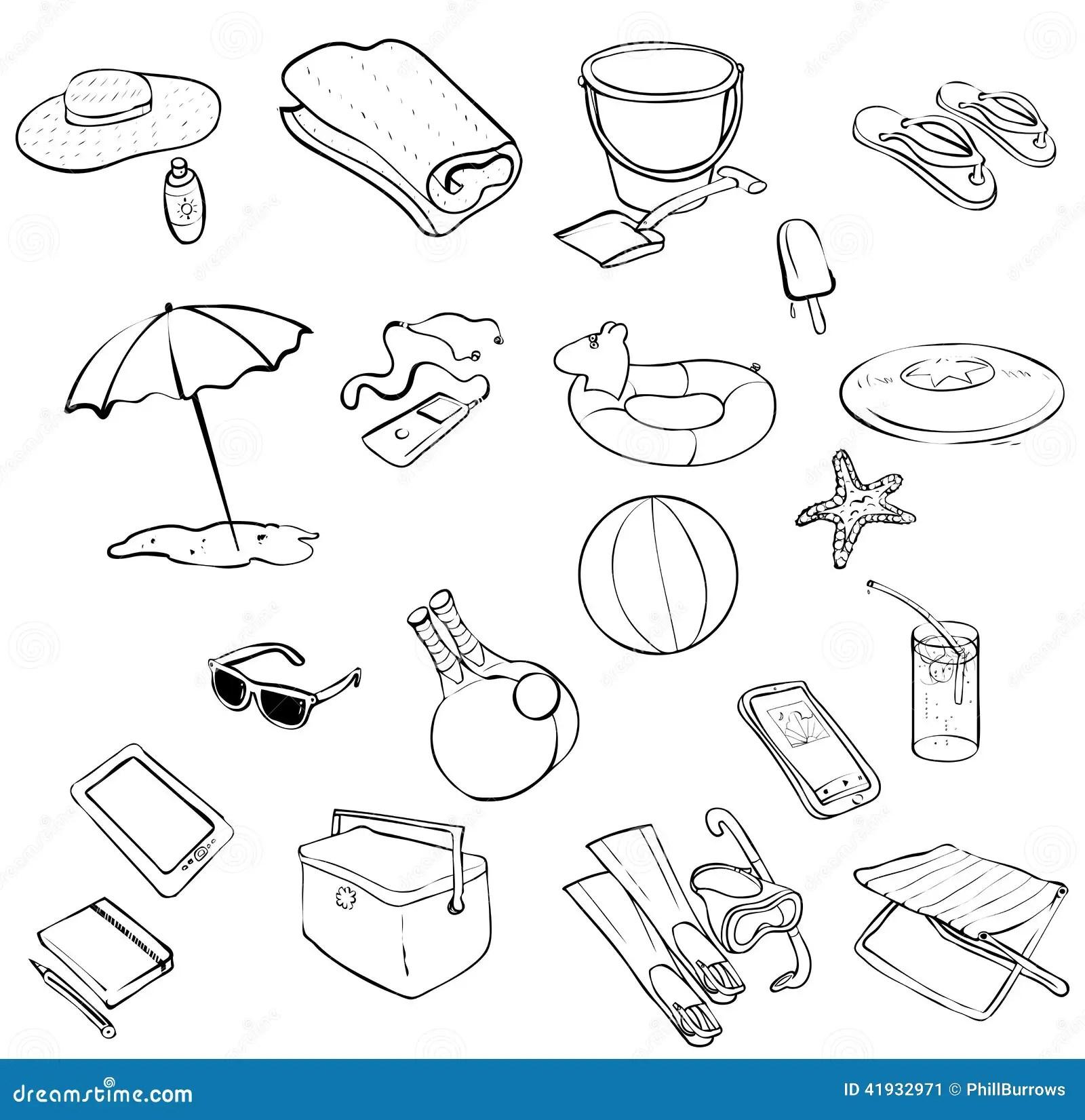 Beach Items Stock Vector Illustration Of Ball Ipod