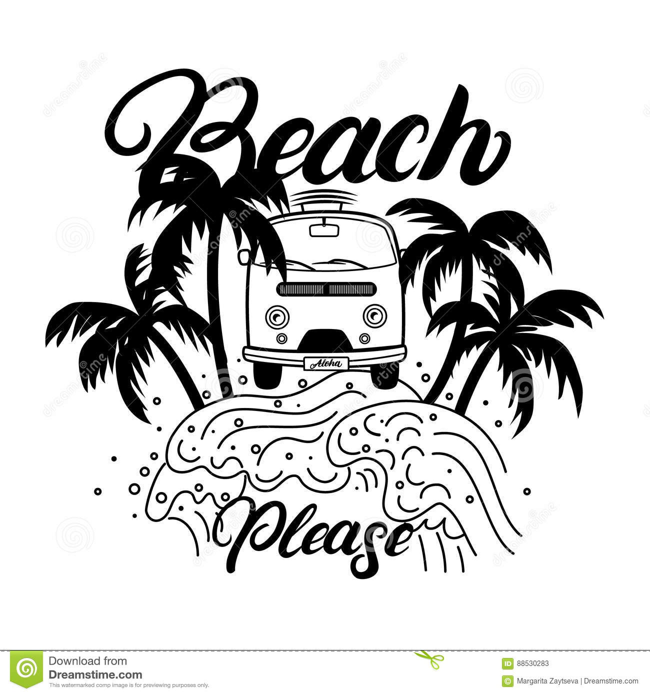 Beach Please Hand Written Lettering With Palms Waves