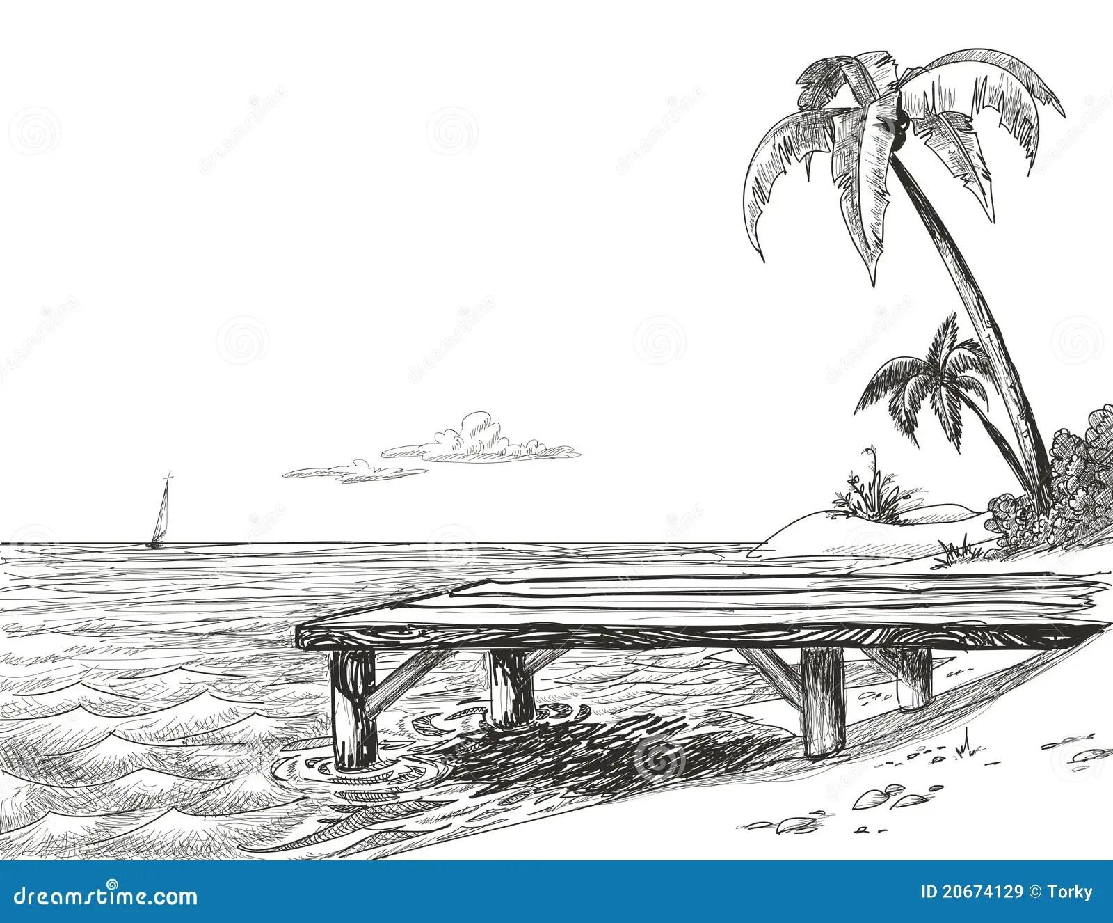 Beach Sketch Stock Vector Illustration Of Coco Harbor