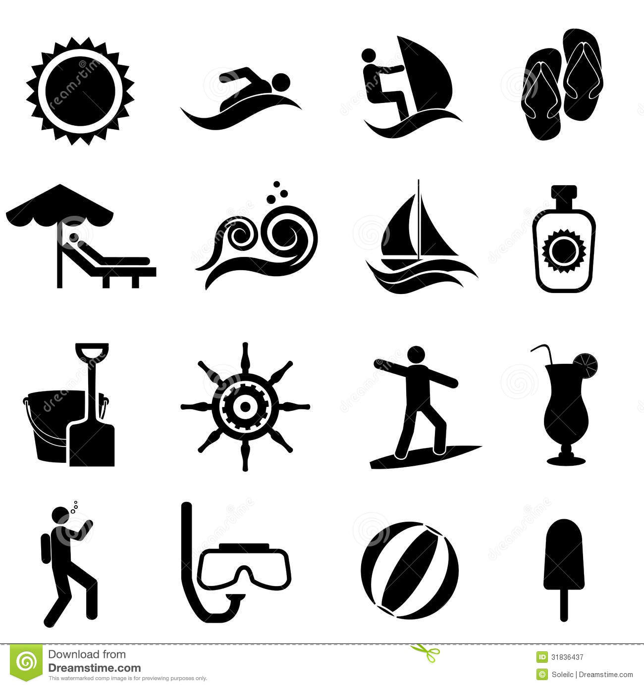 Beach Summer And Nautical Icon Set Royalty Free Stock Photography