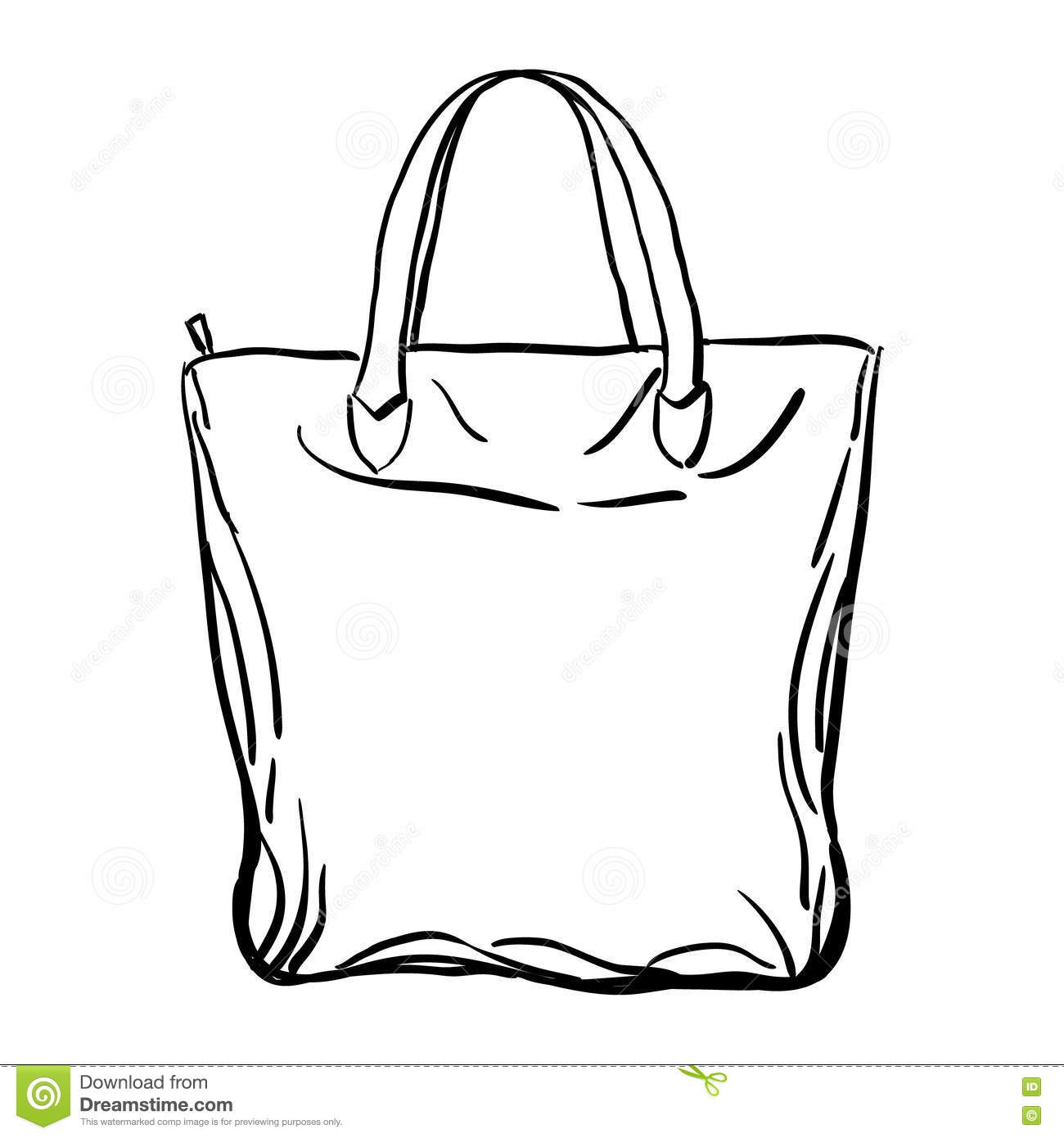 Beach Tote Bag Sketch Vector Illustration Stock Vector