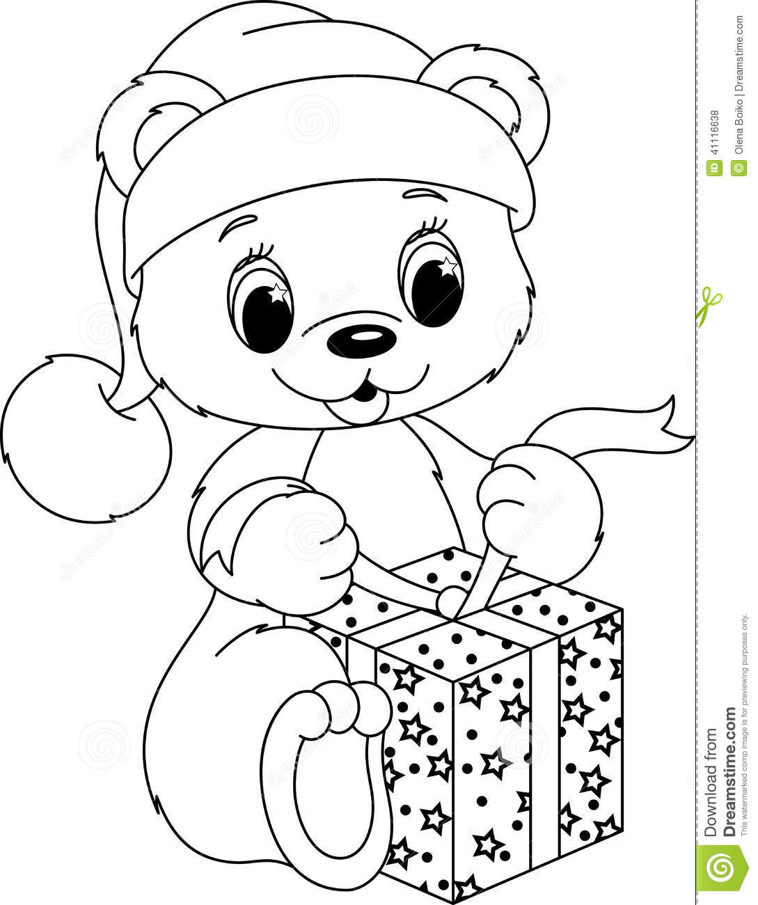 Christmas Teddy Bear Coloring Pages