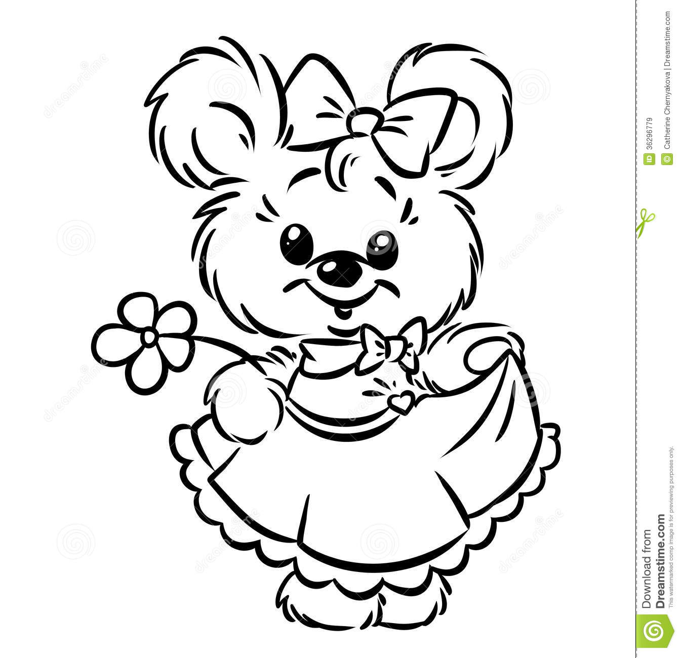 Bear Girl Flower Coloring Pages Stock Illustration