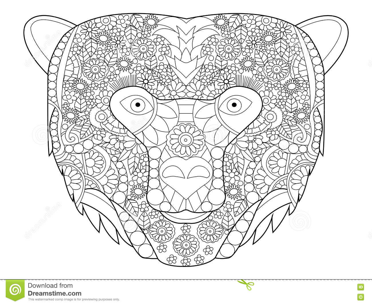 Bear Head Coloring Vector For Adults Stock Vector