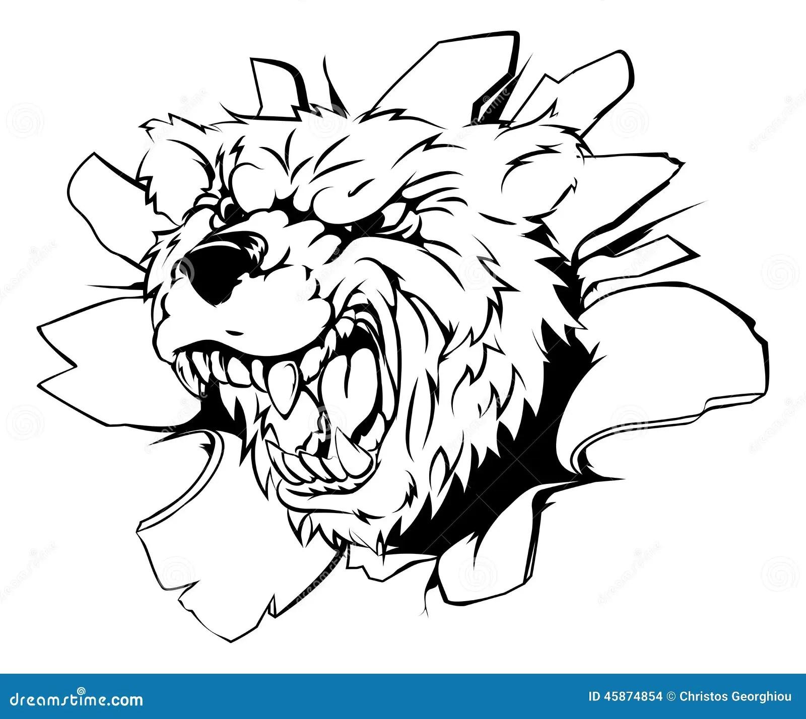 Bear Mascot Breaking Through Wall Stock Vector