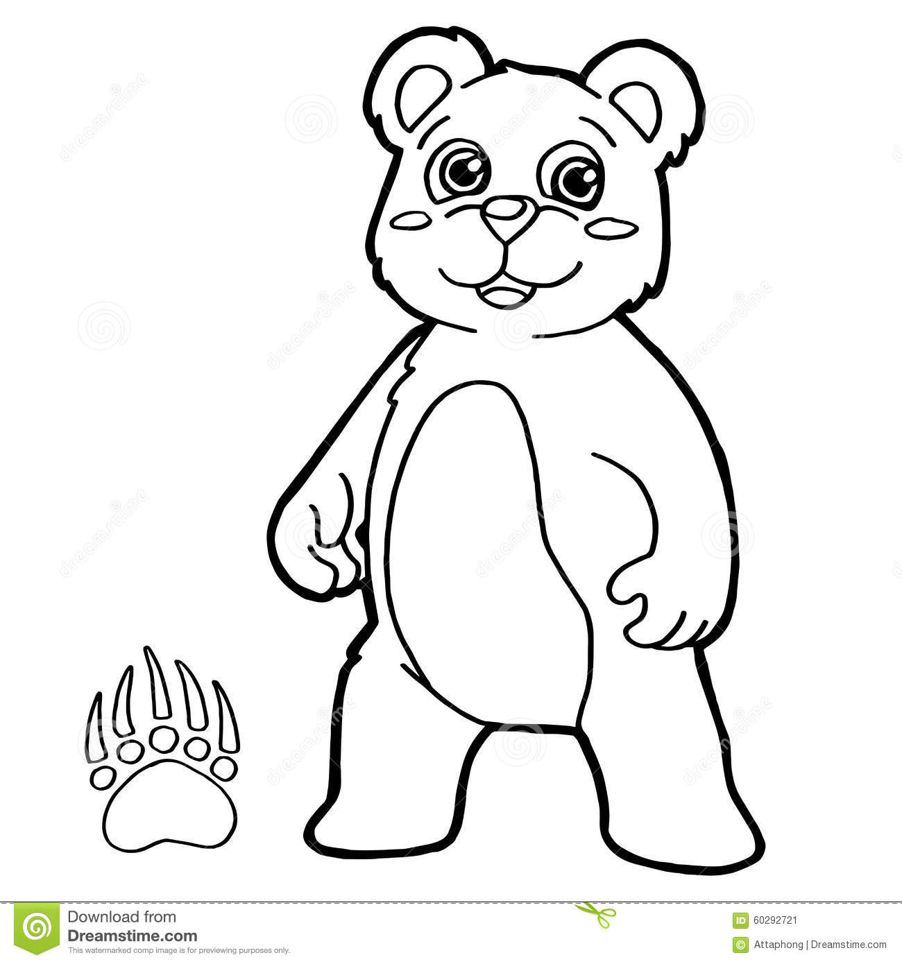 Bear With Paw Print Coloring Page Vector Stock Vector