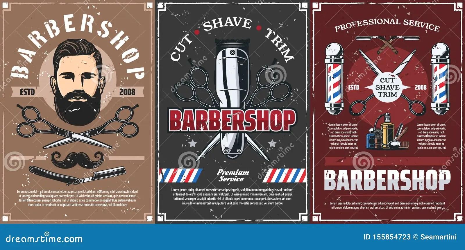 https www dreamstime com beard shave men hairdresser haircut barber shop barbershop professional men hairdresser salon vintage posters vector mustaches image155854723