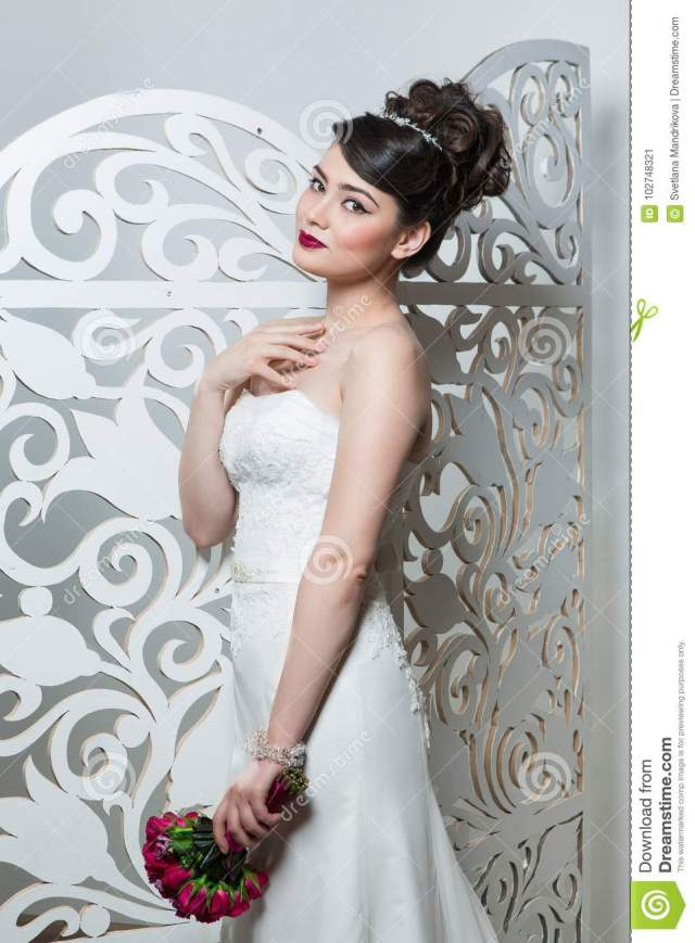 beautiful girl in wedding gown stock image - image of