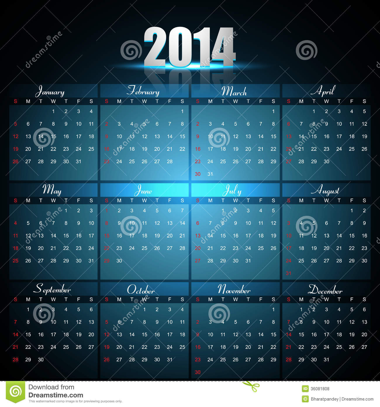 Beautiful Calendar For 2014 Template Stock Vector Image 36081808