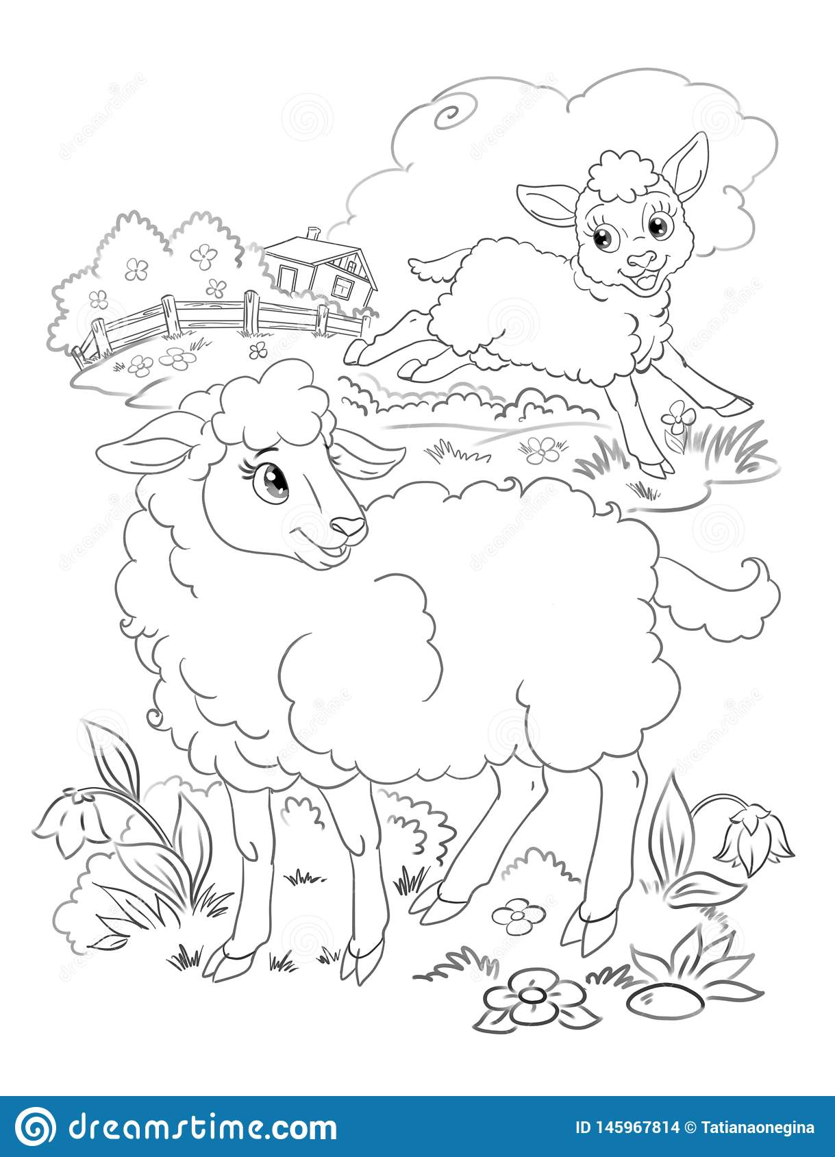 Happy Lamb And Sheep Coloring Stock Illustration Illustration Of Childhood Contour 145967814