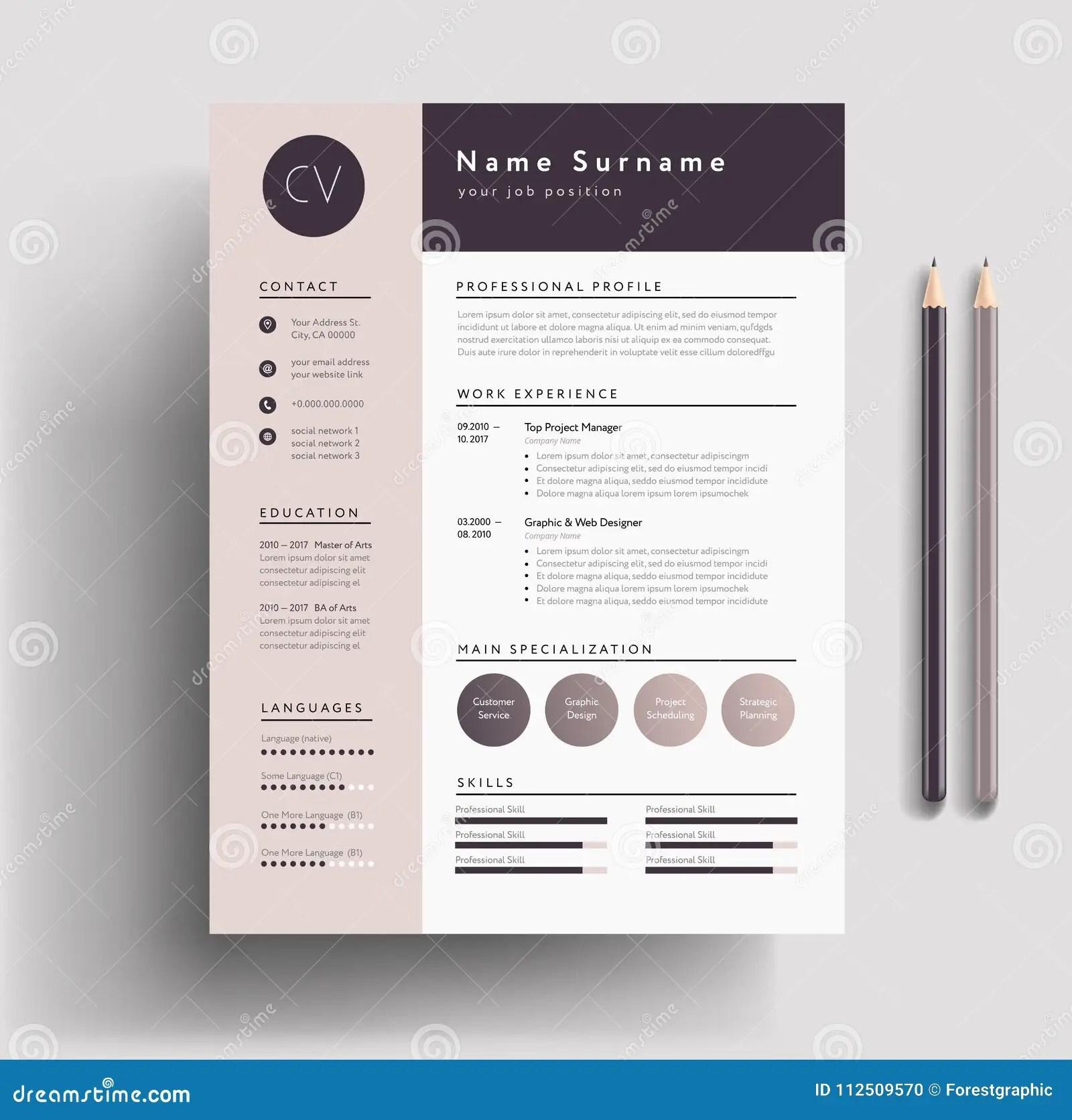 Beautiful CV Resume Template Elegant Stylish Design Dusty Stock Vector Illustration Of