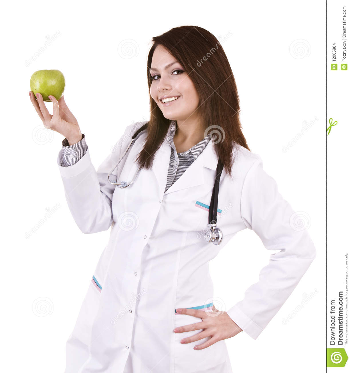 Beautiful Doctor With Stethoscope And Green Apple  Stock Photo     Download Beautiful Doctor With Stethoscope And Green Apple  Stock Photo    Image of dent