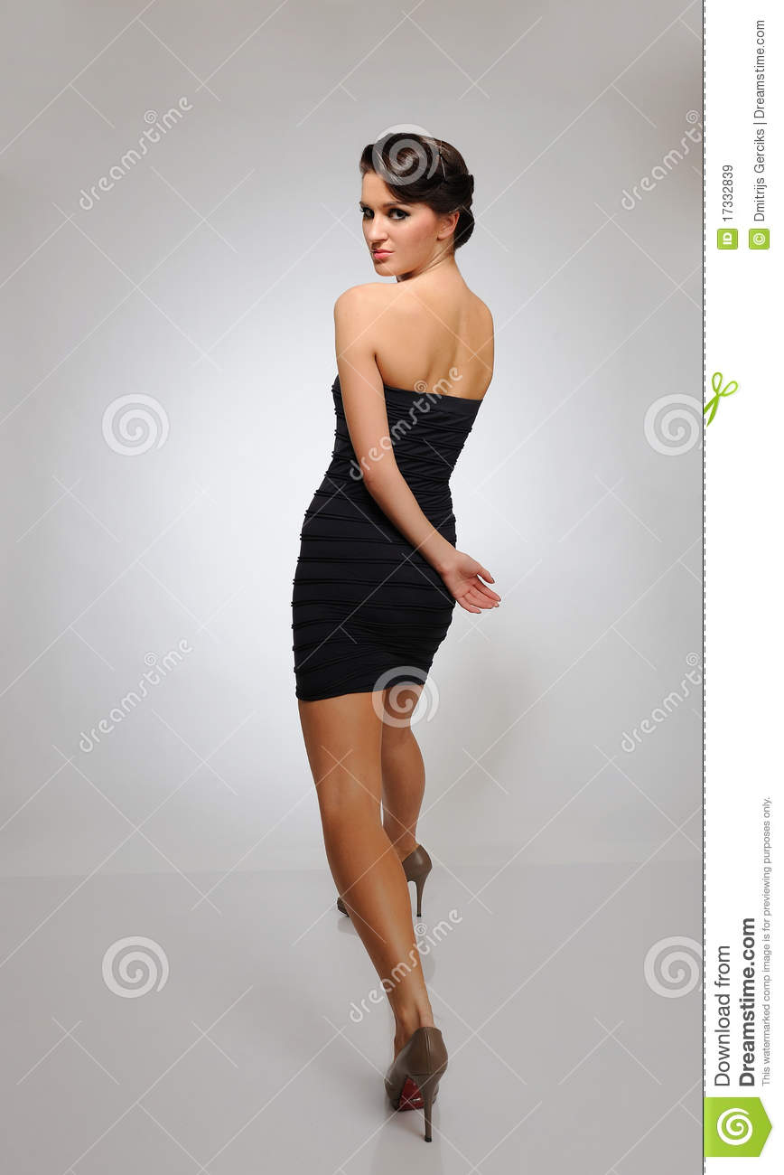 Beautiful Fashion Model Walking On A Catwalk Stock Image