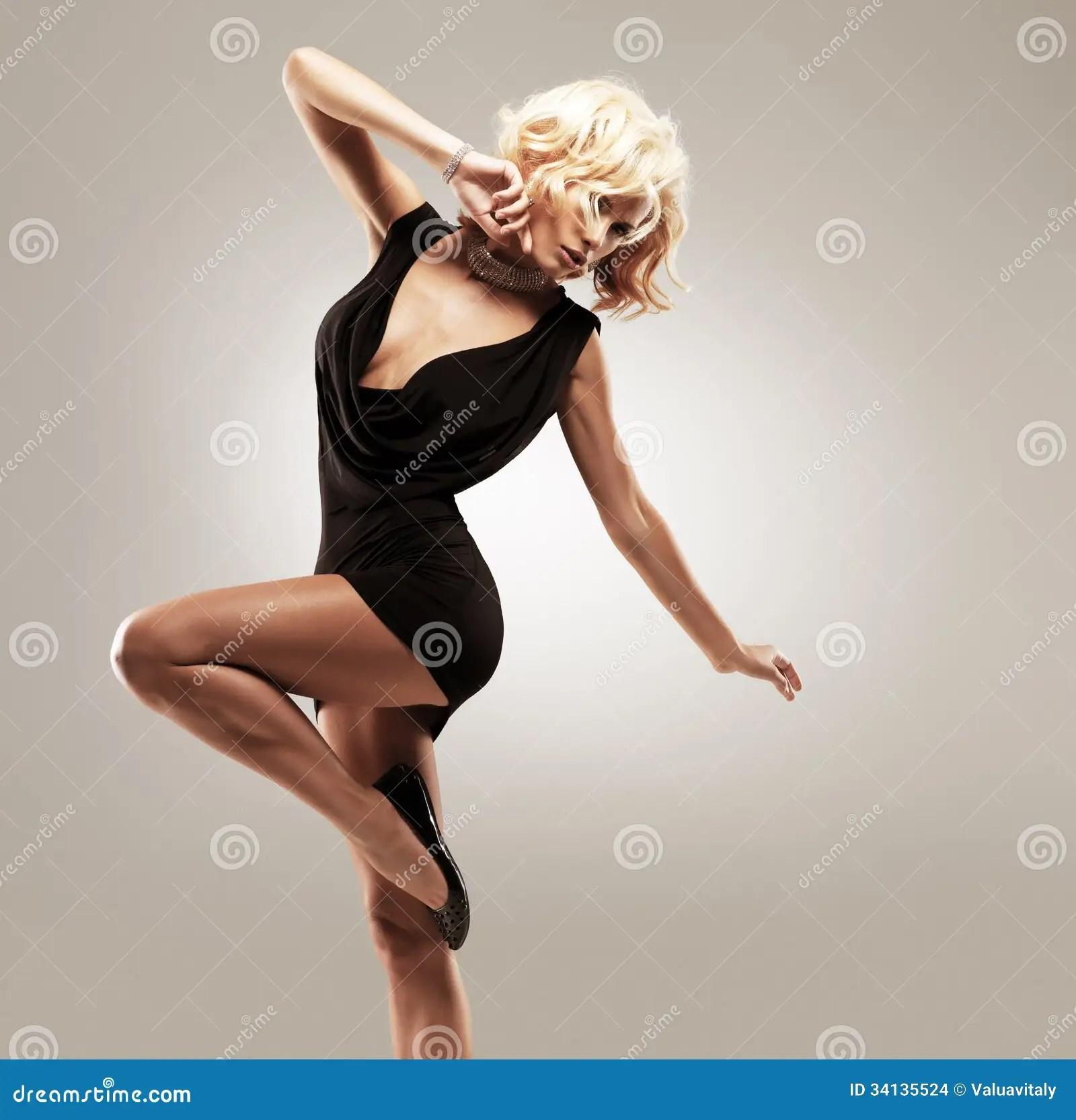 Beautiful Female Dancer In Black Dress Stock Images