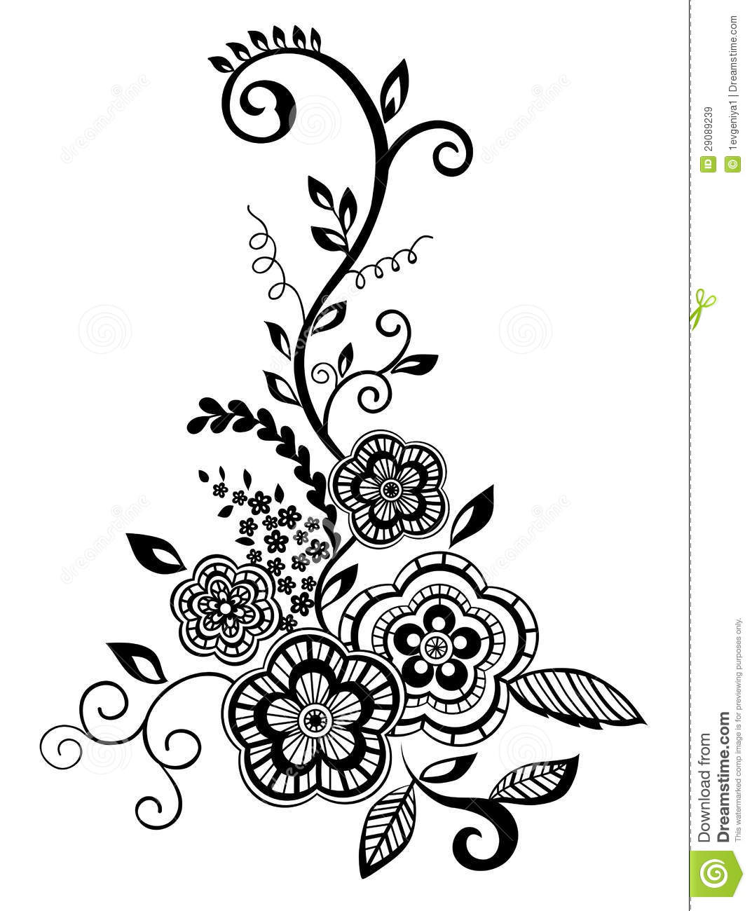 Beautiful Floral Element Black And White Flowers Stock