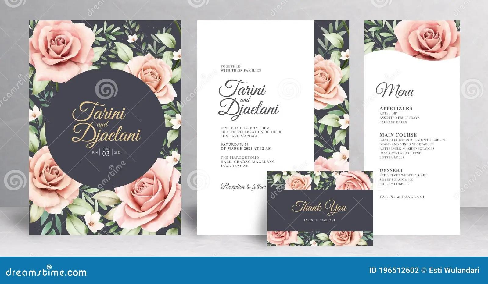 beautiful floral wedding invitation set template stock vector illustration of roses season 196512602