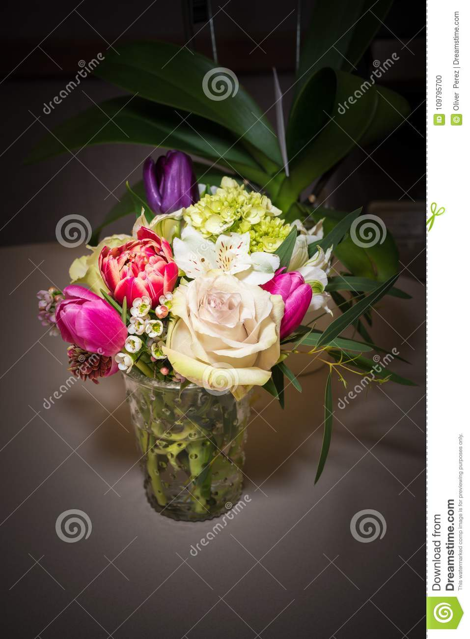 https www dreamstime com beautiful flower arrangement glass vase colorful assorted flower arrangement used as center piece table image109795700