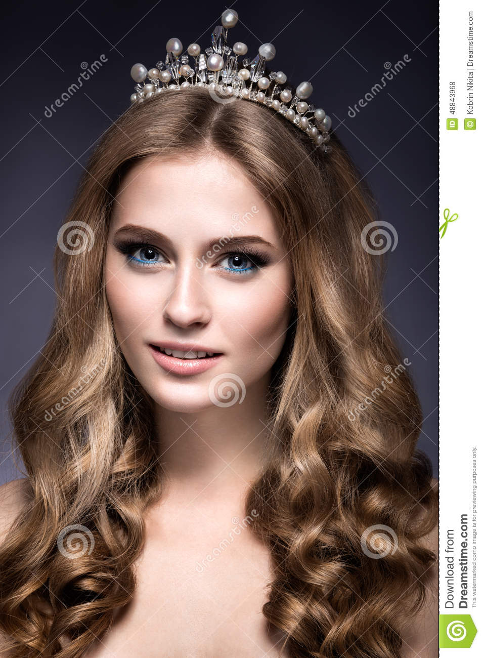 Beautiful Girl With A Crown In The Form Of A Princess