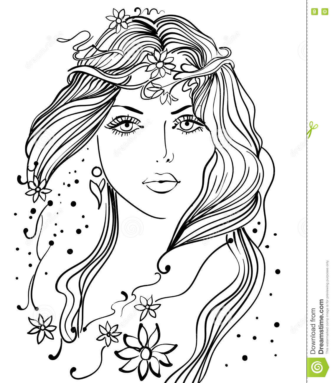 Beautiful Girl Line Art Stock Vector Illustration Of