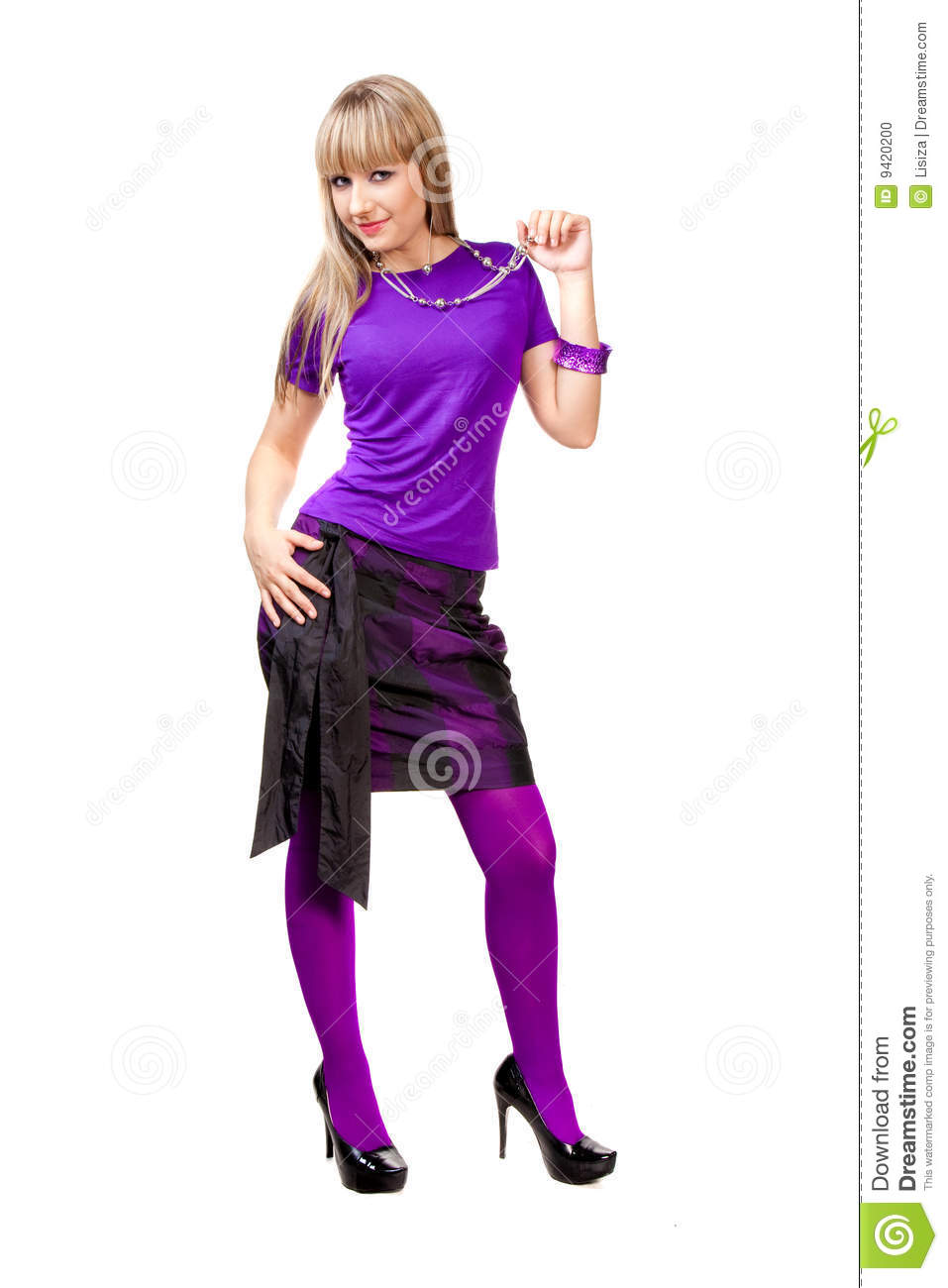 Beautiful Girl In Purple Clothes Stock Photo Image 9420200