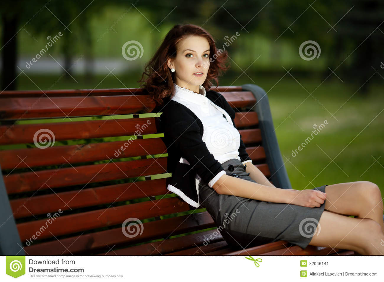 Beautiful Girl Sitting On Bench Stock Image Image 32046141