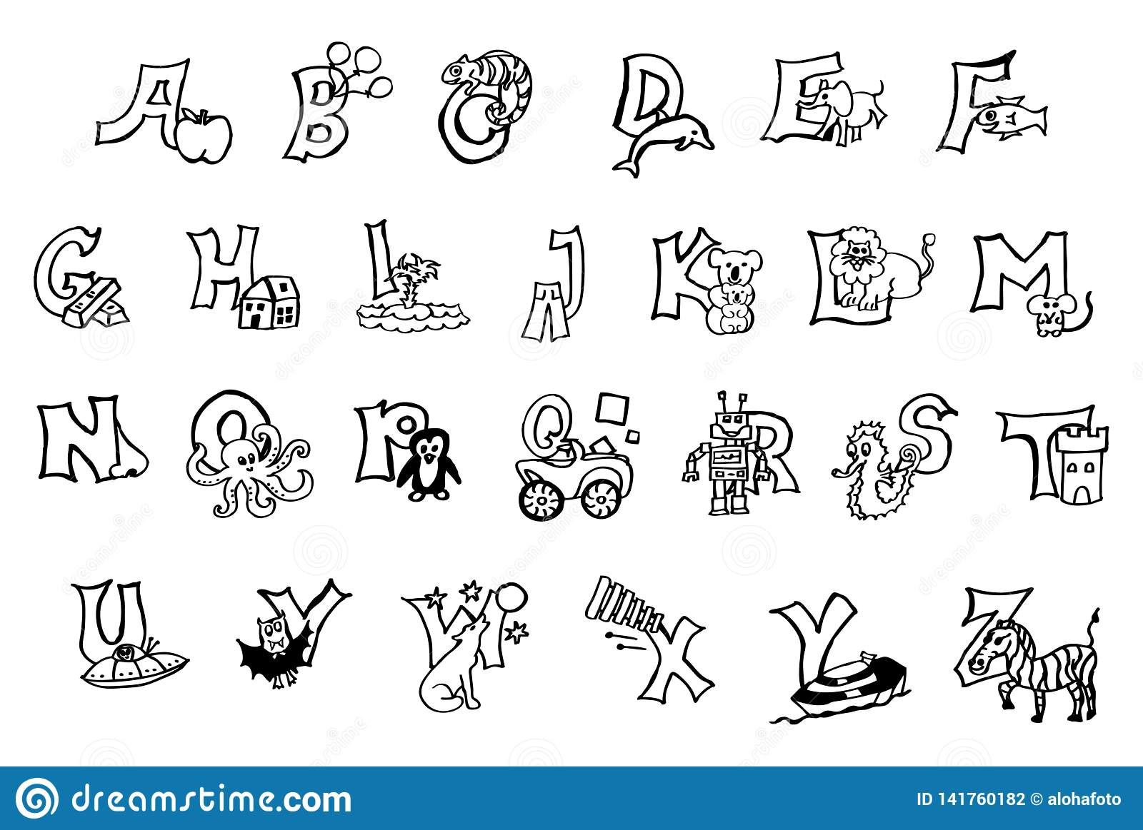 Alphabet Coloring Pages Animal Series Stock Image